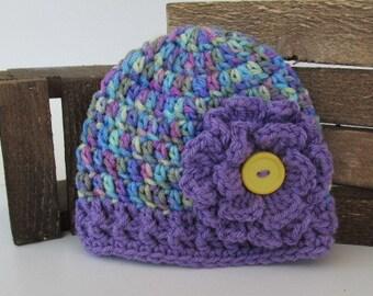Baby Girl Purple Flower Hat, Baby Girl Clothes, Newborn Beanie, Photo Prop, Toddler Flower Hat, Baby Skull Cap, Purple Flower