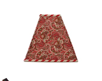 Paisley Red Lamp Shade: Red Lamp Shades, Designer Lamp Shades, Unique Lamp Shades, Square Lamp Shades, Handmade Lamp Shades
