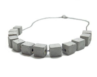 Concrete Stacked Square Necklace - Bold Cement Jewelry