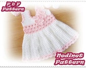 Crochet baby dress pattern, crochet dress set pattern, crochet hat shoes pattern, 0-18 months sizes dress pattern, How to make baby dress
