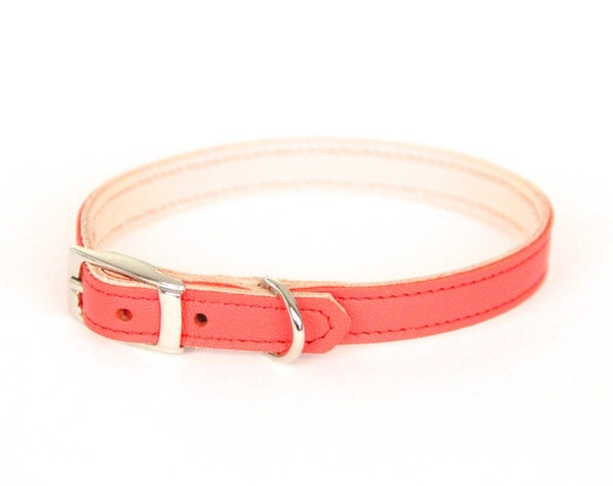 Cat or Small Dog Collar // Coral Pink // Optional ID Tag
