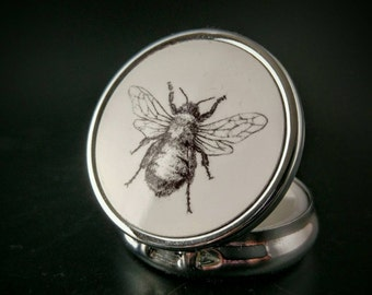 Bee - Bumble Bee - Nature Inspired - Botanical - Occult Accessory - Hand Painted Pillbox - Compact Mirror