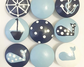 Nautical Drawer Knobs in Baby Blue, Navy and White - Priced Per Knob