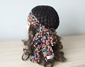 Black cotton fabric women gypsy HAT crochet beanie hats skullcap crochet beanie hat by ZAPrix
