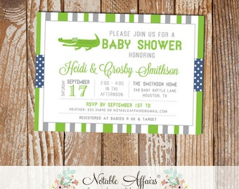Gray and Light Navy Gator Stripes and Polka Dots Baby Shower invitation - choose your colors - Alligator Baby Shower