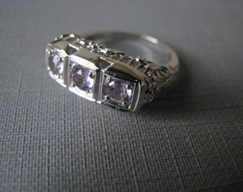 Vintage Sterling Silver and Amethyst Art Deco Style Three Stone Filigree Ring