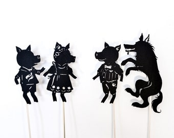 Three Little Pigs: Full Shadow Puppet Set