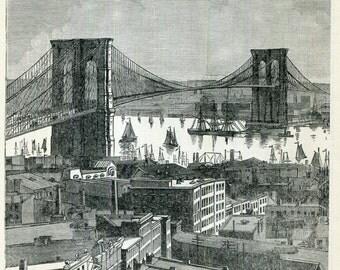 Brooklyn Bridge New York City Antique Print Black and White 1890s Wall Decor City Scene Historical