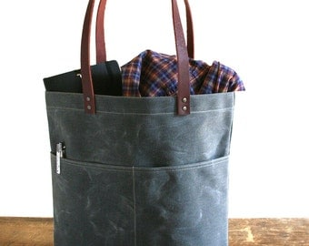 Gray Waxed Canvas Tote Bag with Leather Straps and Two Front Pockets