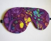 Purple Sleep Mask, Colorful Batik Sleeping Mask, Adjustable Sleeping Mask, Batik Eye Mask
