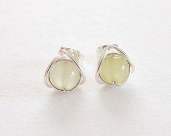 Jade Earrings, New Jade Stud Earrings, Gemstone Earrings, Green Stud Earrings, Gifts For Her