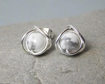 Howlite Stud Earrings, Howlite Earrings, Marble Earrings, Everyday Jewelry