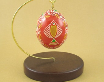 Pysanky Ukrainian Easter Egg Red Fish Hand Decorated Chicken Egg
