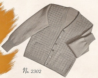 Vintage 50s Knitted Cable Cardigan Pattern - PDF Instant Download