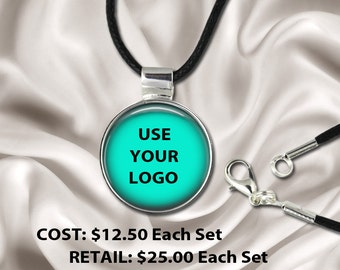 10 Necklace Sets - Wholesale / Fundraising Pricing -  Use YOUR Pic, Logo Or Image -  Includes 1 Pendant, 1 Custom Insert and 1 Black Cord