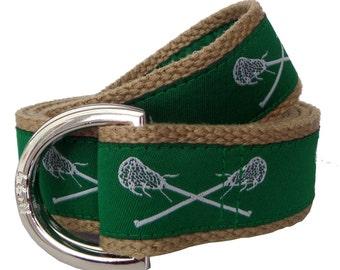 Lacrosse Belt / D-Ring Belt / Canvas Belt / Preppy Webbing Belt for Men, Women and Children/Green Lacrosse