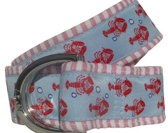 Lobster on Red Seersucker Nautical Belt/ Fabric Belt/Men's and Woman's Seersucker Belt/Lobster Trails with Red Seersucker Fabric D-Ring Belt