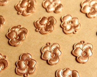 5 pc. Raw Copper Pansy Charms: 12mm by 14.5mm - made in USA | RB-831