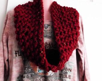Chunky Thick & Warm Cowl Textured Merlot Infinity Scarf Handmade Crochet Moogly Blog Design MAchine Wash and Dry