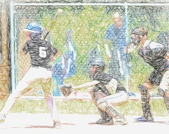 Little League Baseball Hitter, Catcher and Ump Colored Fine Art Sketch Print