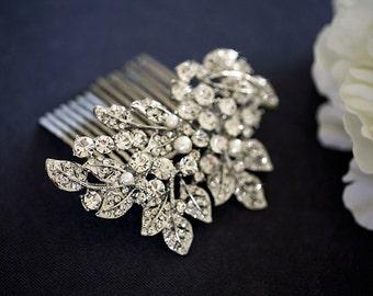 Maya - Bridal hair comb, wedding hair accessories, rhinestone comb,, wedding hair comb, crystal hair comb - Made to order