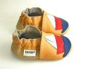 SALE -50% soft sole baby shoes handmade ship on yellow 0 6 ebooba 52-1-0