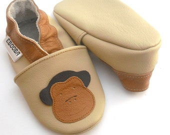 soft sole baby shoes leather infant kids children girl boy gift monkey ape 12-18m ebooba 33-3
