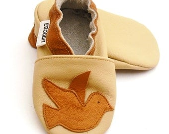 soft sole baby shoes leather infant kids children girl boy gift new birds brown 6-12m ebooba BR-8-BE-T-2