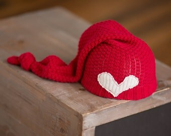 Newborn Hat, Christmas Newborn Hat, Red Newborn Hat with Heart, Upcycled Newborn Hat, Newborn Photography Prop, Newborn Photo Props, Neutral