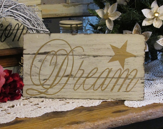 "Rustic Wood Sign ""Dream"", Inspirational Words, Gold Nursery Decor, Nursery Wall Hanging"