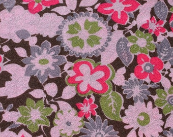 Vintage Pink Wool Gauze Fabric, Lightweight Wool Fabric, Floral Retro Scarf Curtain Fabric Material, 3 yards