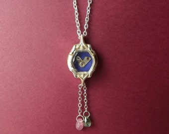 Tiny silver bird in vintage watch case with genuine tourmaline dangles #BB8