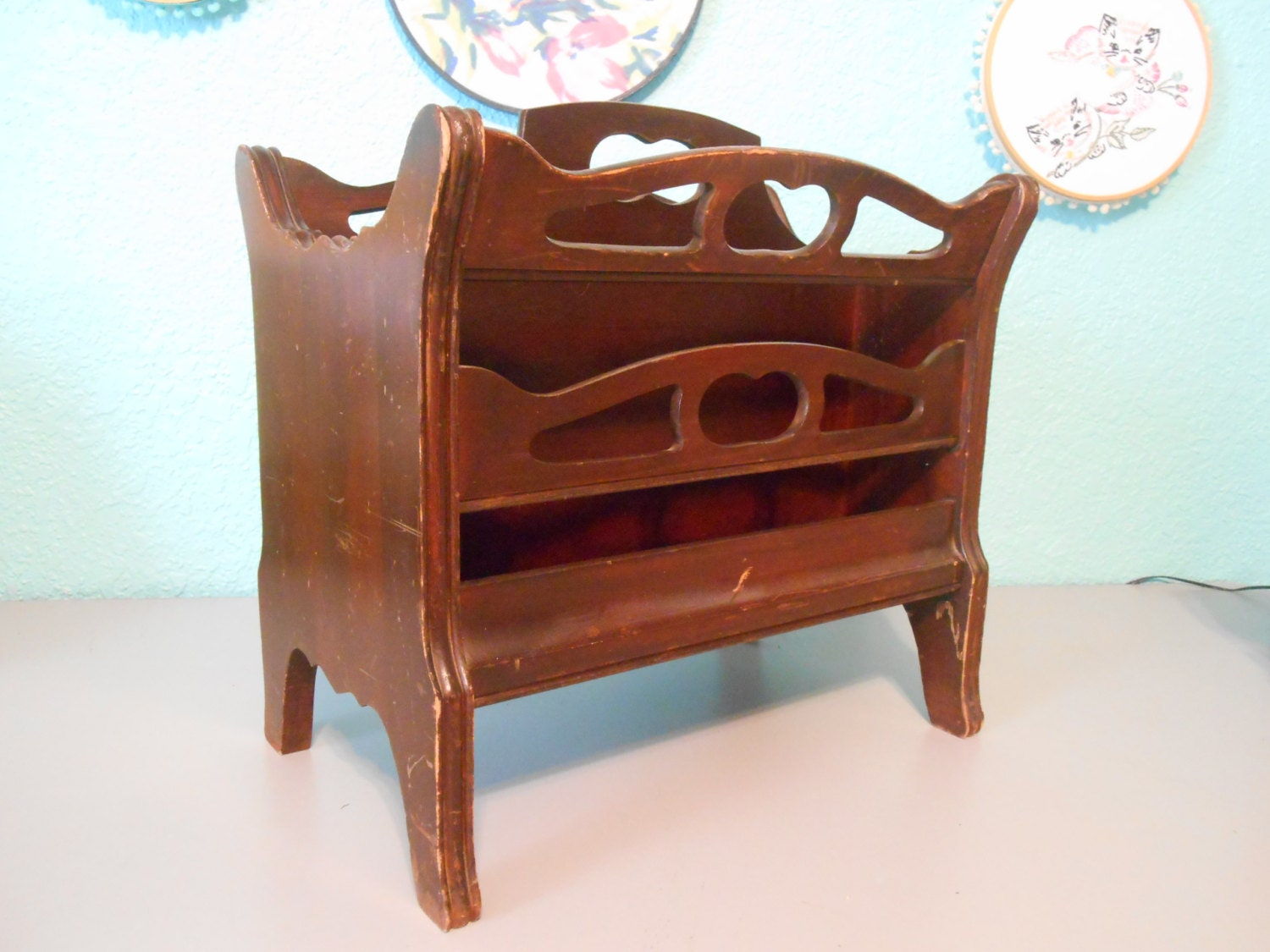 Wood Magazine Rack ~ Vintage wood magazine rack newspaper cut out