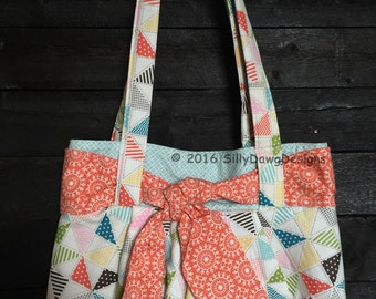 Handmade Tote Handbag, Geometric Prints Stampin Up Fabrics