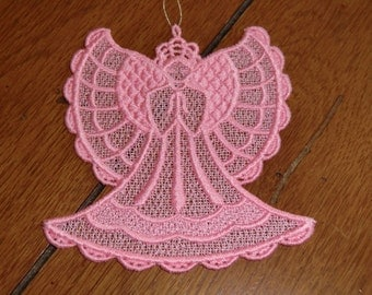 Embroidered Magnet - Christmas - Angel Pink All Thread
