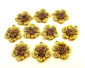 Set of Ten (10) Gold Tone Pewter Small Apple Blossom Charms - 5525