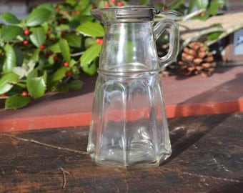 Antique Glass Syrup Bottle, 1915