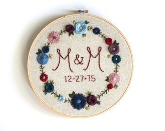 Custom Initial and Anniversary Date Embroidery Hoop. Personalized Home Decor. Monogram Embroidery. Home Decor. Anniversary Embroidery.