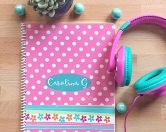 Polka Dot Personalized Notebook- Polka Dot Notebook - Girl Personalized Journal - Girl Personalized Notebook - Girl Notebook