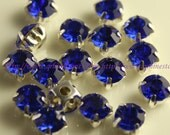 Sew on beads Sapphire Blue crystal chatons rhinestones in silver color prong setting 4mm 5mm 6mm 7mm 8mm 10mm