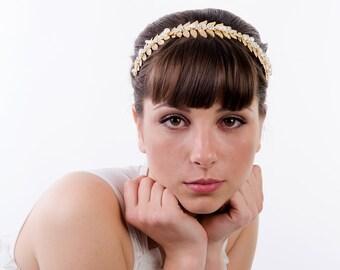 Golden Leaf Grecian Headband Goddess Headband Woodland Tiara Laurel Leaf Crown Vintage Headpiece Bridal Headpiece adult wedding hairband