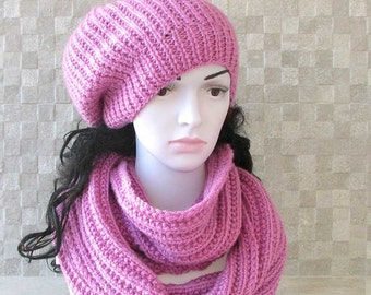 Handmade Knit Hat and Scarf  Set - Womens slouchy - ladies slouchy beanie -  Large hat -  Winter Accessories