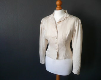 Vintage silk jacket - Chinese silk jacket - cream silk jacket - fitted cream silk jacket - lined silk jacket