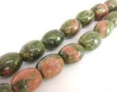 8x11mm Oval Unakite Beads Green Salmon Gemstone