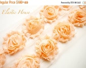 "ON SALE 10% OFF 2.5"" Shabby Rose Trim- Light Peach Color- Chiffon Trim - Hair Accessories Supplies"