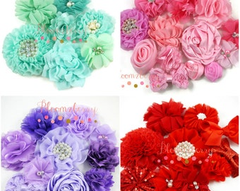 Grab A Bag - Random Flowers/Bow ONLY - You Choose Color - Mixed Flowers and Bow -Mixed/Assorted Style and Size -  Hair Accessories Supplies