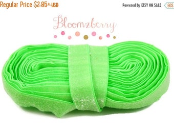"Clearance 35% OFF 5/8"" Glitter Elastic- Neon Green Color - Green Glitter Elastic - Green Velvet Elastic -Green Elastic -Hair Accessories  Su"