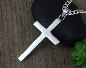 Mens necklace, Large Sterling Silver cross men, Sterling Plain Men Cross necklace, Flat mens cross necklace, Classic Cross jewelry, R-5090
