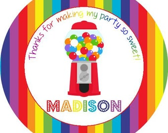 Sweet Candy Gumball Round Labels Stickers for Party Favors, Gift Tags, Address Labels