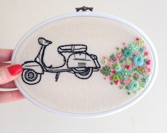 Hand Embroidered Hoop Art - Vintage Vespa - set in an Oval Hoop - ready for hanging!